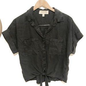 Cloth & stone tencel charcoal tie waist blouse